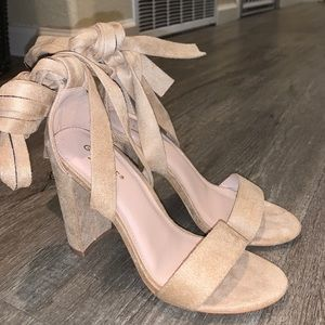 Beige Suede Heels with Ankle Bows
